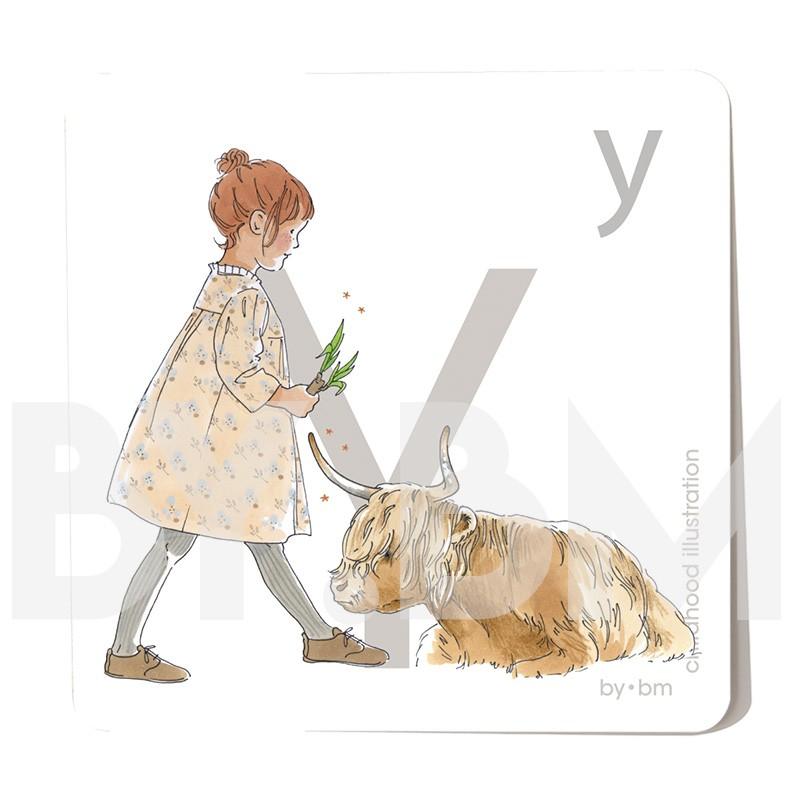 Carte abécédaire carré de 8x8cm , lettre Y illustrée par de dessins originaux, petite fille, animal et végétal