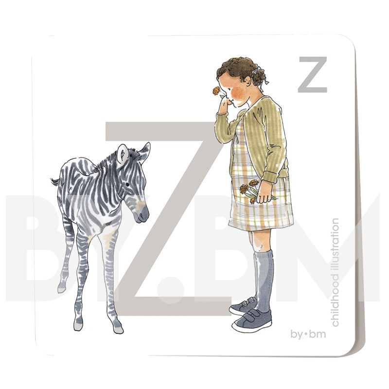 8x8cm square alphabet card, letter Z illustrated by original drawings, little girl, animal and plant