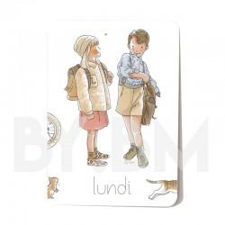 Cartelette  lundi de l'ensemble de 7 cartes aimantées 10,5 X 7,5 cm des jours de la semaine