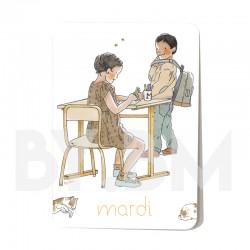 Tarjeta martes del juego de 7 tarjetas magnéticas de 10,5 X 7,5 cm de los días de la semana