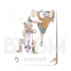 Cartelette  mercredi de l'ensemble de 7 cartes aimantées 10,5 X 7,5 cm des jours de la semaine