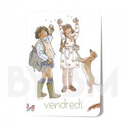 Cartelette  vendredi de l'ensemble de 7 cartes aimantées 10,5 X 7,5 cm des jours de la semaine