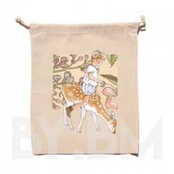 Bolsa de algodón orgánico de 25x30cm con una ilustración artística original sobre el tema de la primavera