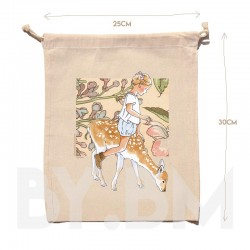 Pochon en coton bio de 25x30cm avec une illustration artistique originale sur le thème du printemps