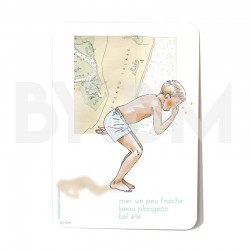 Summer postcard with an original drawing representing a boy on the seaside theme with an old map background