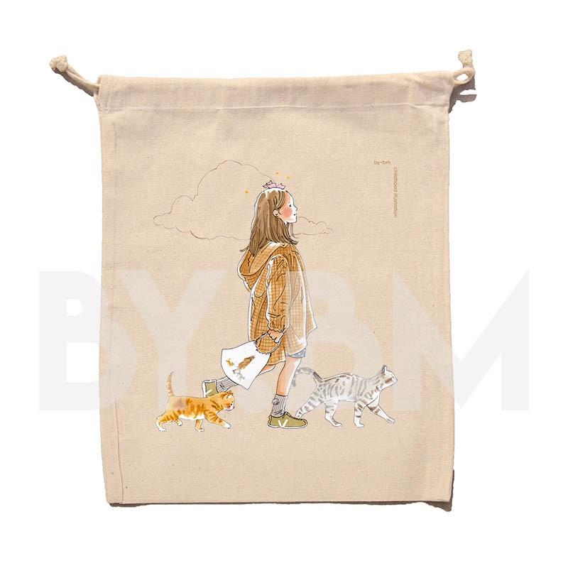 Pochon en coton bio de 25x30cm avec une illustration artistique originale