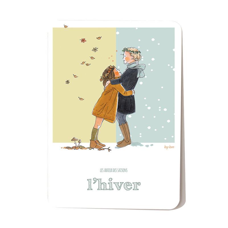 Carte postale Hiver - collection Les Adieux des Saisons.