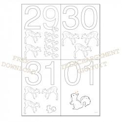 Dates à colorier - 29 30 31 01