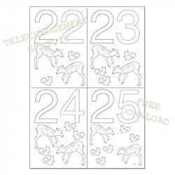 Dates à colorier - 22 23 24 25
